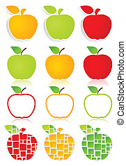 Apple icons2 - Set of icons of apples. A vector illustration