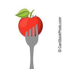 apple in a fork