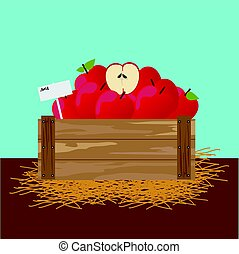 Apple in a wooden crate Vector illustration.