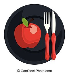 apple in dish with fork and knife