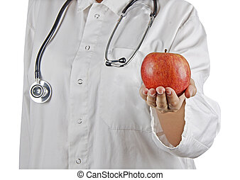 Apple in doctor's hand