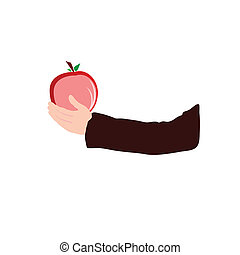 apple in hand color vector