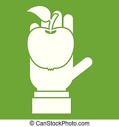 Apple in hand icon green