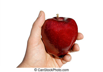 Apple in Hand Isolated Against White - View of an apple in...