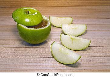 Apple in honey for Rosh Hashanah Jewish Holiday.