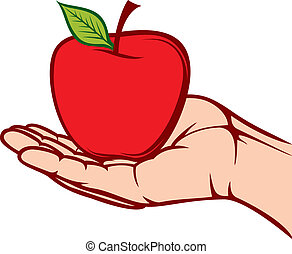 apple in the hand (hand holding apple, hand hold fruit)