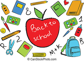 Back to school colorful accessories, vector illustration