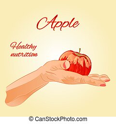 Apple in the palm of healthy nutrition vector.eps