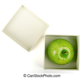 Apple in white box
