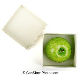 Apple in white box
