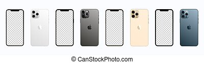 Apple iPhone 12 Pro Max in four colors. Iphone mockup set. Vector illustration isolated on white background.