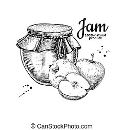 Apple jam glass jar vector drawing. Fruit Jelly and marmalade. Hand drawn food illustration. Sketch style vintage objects for label, icon, packaging design.