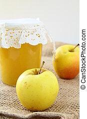apple jam in a glass jar