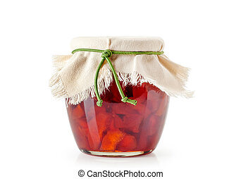 apple jam in a jar on a white background