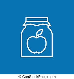 Apple jam jar thick line icon with pointed corners and edges for web, mobile and infographics. Vector isolated icon.
