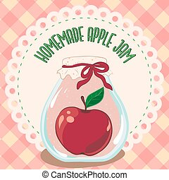 Apple jam jar, preserve vector. Apple jam jar, preserve...