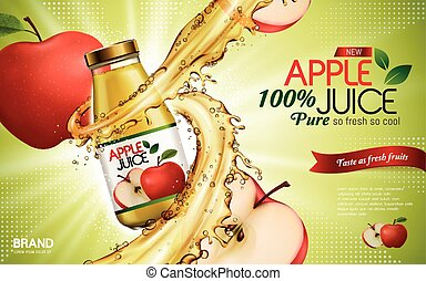 apple juice ad - apple juice contained in glass bottle with ...