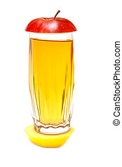 Apple juice in glass and lobule fresh apple on white background