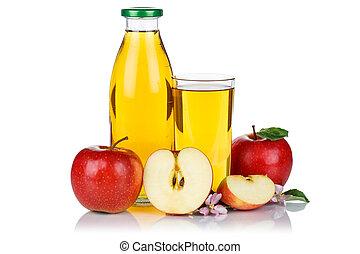 Apple juice apples fruit fresh fruits bottle isolated on white
