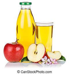 Apple juice apples fruit fresh fruits bottle square isolated on white