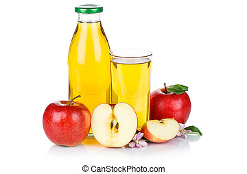 Apple juice apples fruit fruits bottle isolated on white