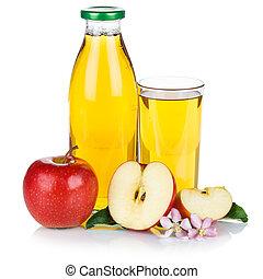 Apple juice apples fruit fruits bottle square isolated on white