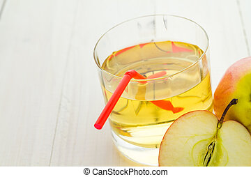 Apple juice apples wooden table