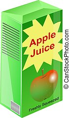 Carton of apple juice illustration.