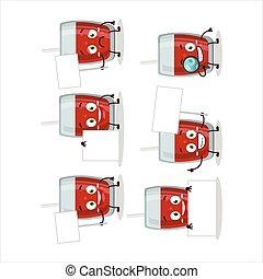 Apple juice cartoon character bring information board