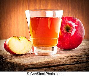 Apple juice. Fresh organic ripe apples and glass of juice