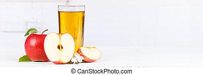 Apple juice fruit apples drink banner copyspace glass