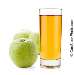 Apple juice in glass and green apples