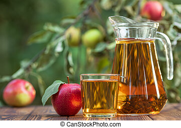 apple juice in glass and jug