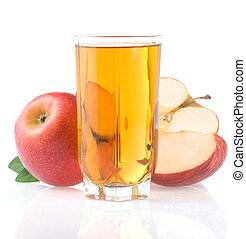 apple juice in glass and slices isolated on white