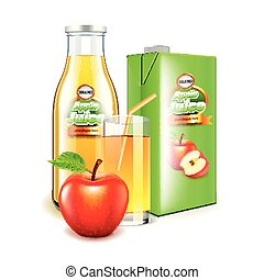 Apple juice in glass bottle and packaging 3d realistic vector
