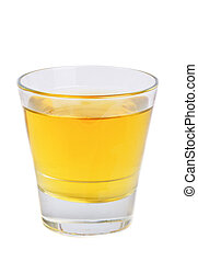 apple juice in glass isolated on white