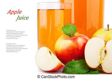 Apple juice in glass jar & text