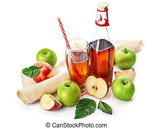 Apple juice in glass with straw