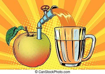 Apple juice is poured into a mug