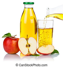 Apple juice pouring apples fruit fruits glass bottle square isolated on white
