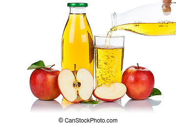 Apple juice pouring pour apples fruit fruits bottle isolated on white