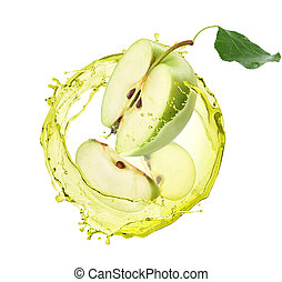 apple juice with apples on white background