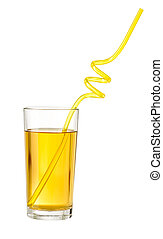 Apple juice with drink straw in glass isolated on white with clipping path included