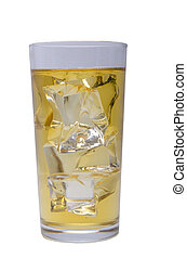 apple juice with ice on a white background