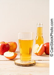 Apple juice with red apples fruits
