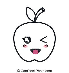 Apple Kawaii Cartoon Apple Fruit Food Kawaii Cartoon With Lazy