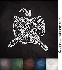 apple Knife Fork icon. Hand drawn vector illustration