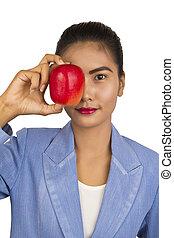 apple., kobieta handlowa