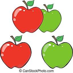apple., komplet, zielony czerwony, zbiór