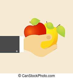 Apple lemon pear in hand.